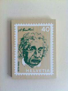 Silk Screen on Wood panel    Einstein Stamp $30
