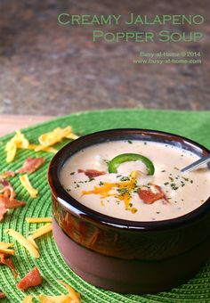 Jalapeno Popper Soup is creamy, spicy, comfort food deliciousness that can be on your table in about 30 minutes.   #PackedWithSavings-#shop-...
