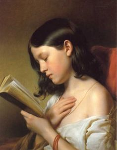 beautiful painting of a girl reading