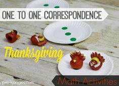 One to One Correspondence Thanksgiving Math Activities for Preschool and Kindergarten. Hands On Activities to Help Kids in Preschool and Kindergarten Develop Number Sense.  Learn How to Count the FUN Way!