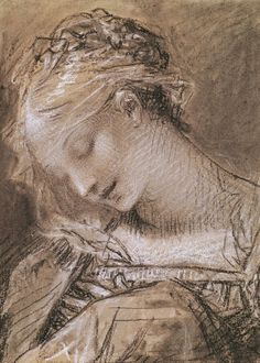 Pierre-Paul Prud'hon (French, 1758-1823)  Head of the Virgin. (charcoal and white chalk on paper)  Musée des Beaux-Arts, Dijon, France.