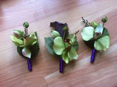 Silk Flower Bouquets for Princess and the Frog themed wedding! (pics) :  wedding bouquets disney diy green mardi gras princess and the frog purple silk flowers yellow Boutonnieres