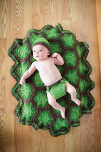 Teensy Turtle Baby Set - from the Fall 2014 Issue of Love of Crochet magazine  Welcome your tiny tot into the world with this darling set. The delightfully realistic shell pattern is composed of hexagons, large and small, and the dynamic, textured look is accomplished with a series of spike stitches. The hat and blanket will keep your little one warm, while the cape and diaper cover make for some adorable photo opportunities.