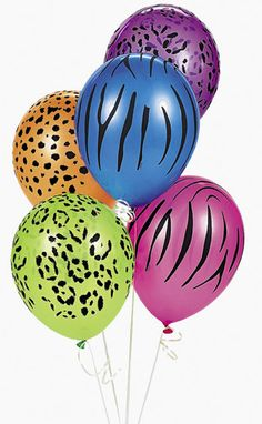 Neon Animal Print Balloons.. @Jordan Bromley Kirby this would be awesome for Bree's party.. haha