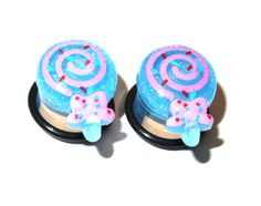 9/16 inch (14mm) Ear Plugs Food Gauges Glittery Blue Swirl Lollipop Candy Plugs Earrings for Stretched Ear Piercings (Acrylic, with o-ring via Etsy