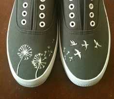 Hand Painted Shoes - Dandelions and Birds. $45.00, via Etsy.