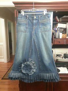 Custom modest ruffle jean skirt