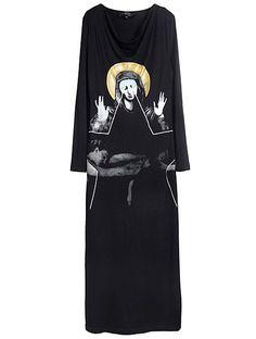 Black Long Sleeve Virgin Mary Print Dress