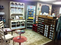 Annie Sloan Chalk Paint display with an old post office mail hutch!  My Table Gallery, Hales Corners, WI