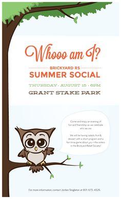Brickyard Relief Society Activity: Whooo am I? Summer Social