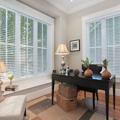 Simple and elegant office in Benjamin Moore - Revere Pewter paint