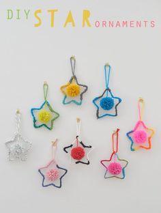 ~Leuke sterren met pom pom-ballen~ star ornament, pom poms, yarn star, crafts with stars, pompom, star crafts for kids, star craft kids, kids crafts with yarn, christma