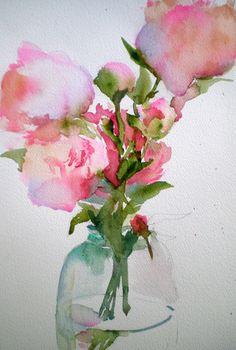 laura's watercolors: hydrangeas and peonies peoni
