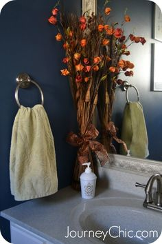 DIY- Fall Decor for the Bathroom + Sources for Free Fall Printables
