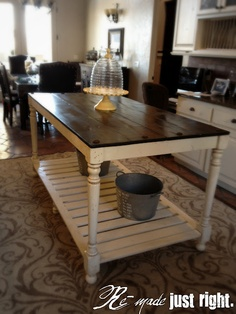 I totally want to do this to my dining room table and re-purpose as an island!  would of course have to get a new kitchen table :)