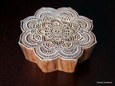 Hand Carved Indian Wood Textile Stamp Block- Large Floral Motif. $41.00, via Etsy.