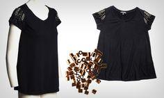 Camiseta com mangas bordadas
