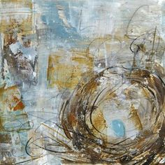 """Image of Original art by Melissa Payne Baker - 8""""x 8"""" Nest in Blue and Gold"""