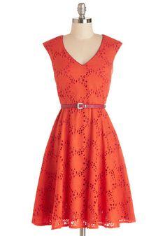 Efflorescent Entrance Dress - Orange, Pink, Eyelet, Belted, Special Occasion, Party, A-line, Cap Sleeves, Summer, Better, V Neck, Mid-length...