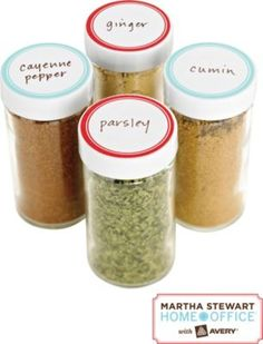 Kitchen Organization 101: Put spices in uniform containers and add a fun label for easy identification. #MarthaStewartHomeOffice #affordable #DIY #kitchenorganization