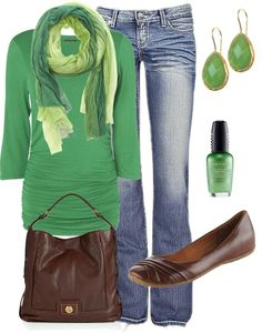 Casual with scarf and in green! :)