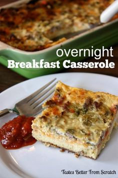 Overnight Sausage and Egg Breakfast Casserole | Tastes Better From Scratch #breakfast #casserole #eggs #sausage