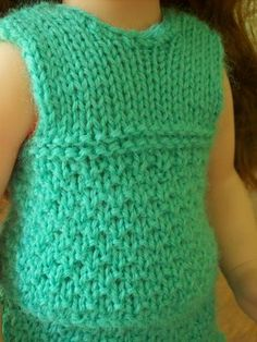 Free Knitting Pattern - Doll Clothes: Sleeveless Doll Sweater