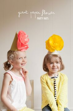 Giant Paper Flower Party Hats. Cute!