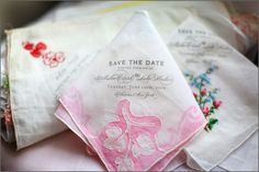Love the romantic feel of these vintage handkerchief save the dates-- they are to DIE for!!