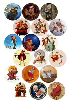 "Norman Rockwell Holiday scenes Bottle cap image pack Formatted for printing on 4"" x 6"" photo paper"