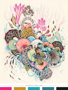 pen, yellena jame, illustrations, color, art prints, doodl, artist, flowers, ink