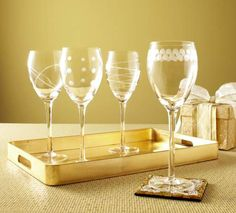 Pier 1 Etched Wine Glasses are anything but typical