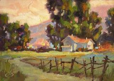 RURAL FARM, HOUSE, LANDSCAPE by TOM BROWN, ORIGINAL 5x7 OIL, painting by artist Tom Brown