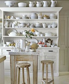 Ironstone/white ceramics in a lovely French Dresser