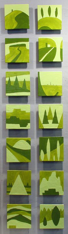 wall art, class projects, jason messing, grand tour, murals, mural artwork, art education, shades of green, kitchen tiles