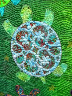 "Close-up photo, ""It's Turtles All the Way Down"", Denver Quilt Festival. Quilt by Jan Hutchinson.  Photo by Ali Bear."