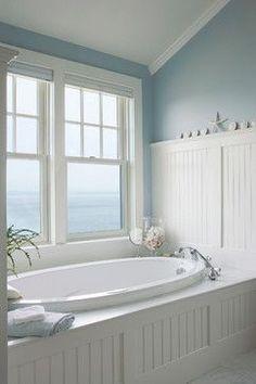 wall colors, cottage style bathroom ideas, beach houses, tub, bathroom designs, beach house bathroom ideas, master baths, beach bathrooms, beach styles