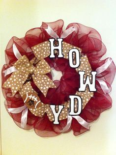 Texas A&M Aggie deco mesh and burlap HOWDY by AdamsCraftCreations