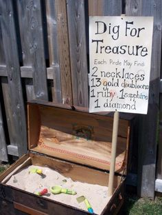 Each person can search for edible necklaces, ring pops, a can of playdo, or any other item that is small enough to bury...