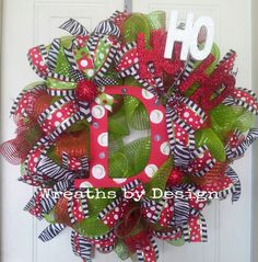 Whimiscal Christmas Initial Wreaths by WreathsbyDesign1 on Etsy, $75.00
