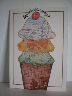 handmade card from Cynthia Rose Designs: Here's The Scoop ... triple decker ice cream cone paper pieced using map papers ... fun card .... and ice cream is the way to my nephew's heart ... fits the Moxie Fab challenge perfectly ...