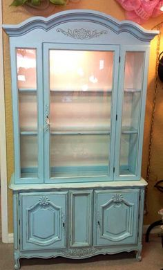 Lighted china cabinet robin eggs blue chalk paint and wax.