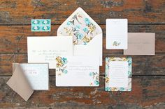 Teal and mustard floral Stationery Suite by Ruby & Willow #weddinginvitations #weddingstationery