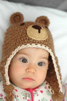 Crochet teddy bear baby earflap hat