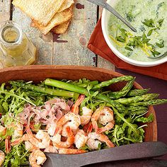 Asparagus and Shrimp Salad. Fresh spring asparagus and citrusy shrimp are tossed with a tarragon dressing in this low carb main-dish salad.