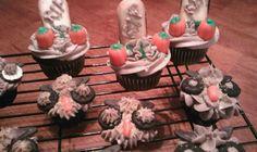 Halloween Tombstone and Hoot Owl Cupcakes Pinned by www.myowlbarn.com