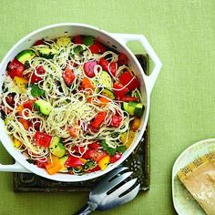 Fresh pepper and zucchini pasta