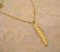 SALE Gold Feather necklace/ Feather pendant by MayaBelle on Etsy, $28.80