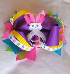 easter hair, hairbow, easter bow, craft, bunni bow, ribbon, hair bows, big bows, easter bunny