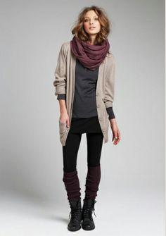 Long cardi, leggings with legwarmers plus boots, cozy scarf.
